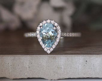 Pear 9x6mm Natural Aquamarine Engagement Ring, 14k White Gold Aquamarine and Diamond Halo Ring, Bridal Ring, White Gold Wedding Ring