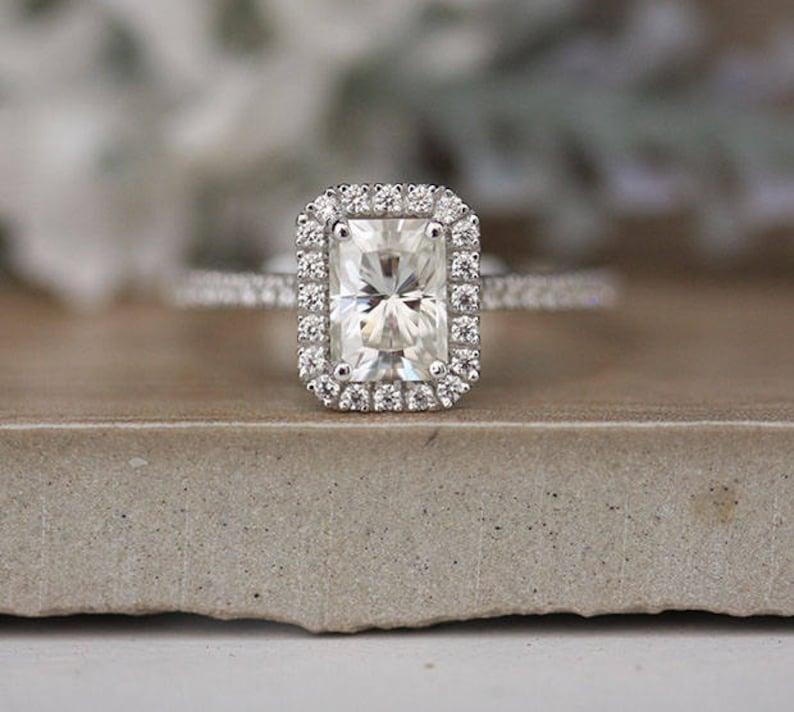 0a7064e3eea1b Radiant Emerald Cut 7x5mm Moissanite Engagement Ring, Forever Classic  Moissanite White Gold Ring,Half Eternity Diamond Band, Promise Ring