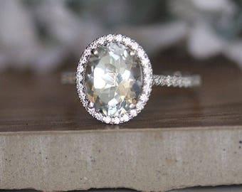 Natural White Topaz Engagment Ring, Diamond Halo Ring, 14k White Gold White Topaz and Diamond Bridal Ring, Diamond Half Eternity Band