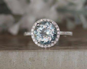 Round 9mm Natural Aquamarine Engagement Ring, 14k White Gold Aquamarine and Diamond Halo Ring, Bridal Ring, White Gold Wedding Ring, Promise