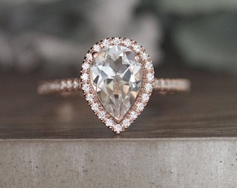 14k Rose Gold White Topaz and Diamond Engagement Ring, Colorless Topaz Wedding Ring, Pear 10x7mm White Topaz Diamond Halo Ring,Promise Ring