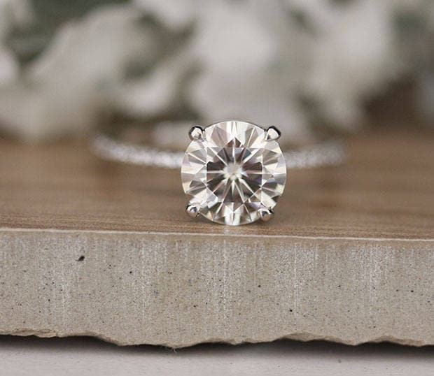 8mm Round Moissanite Forever Classic Engagment Ring White