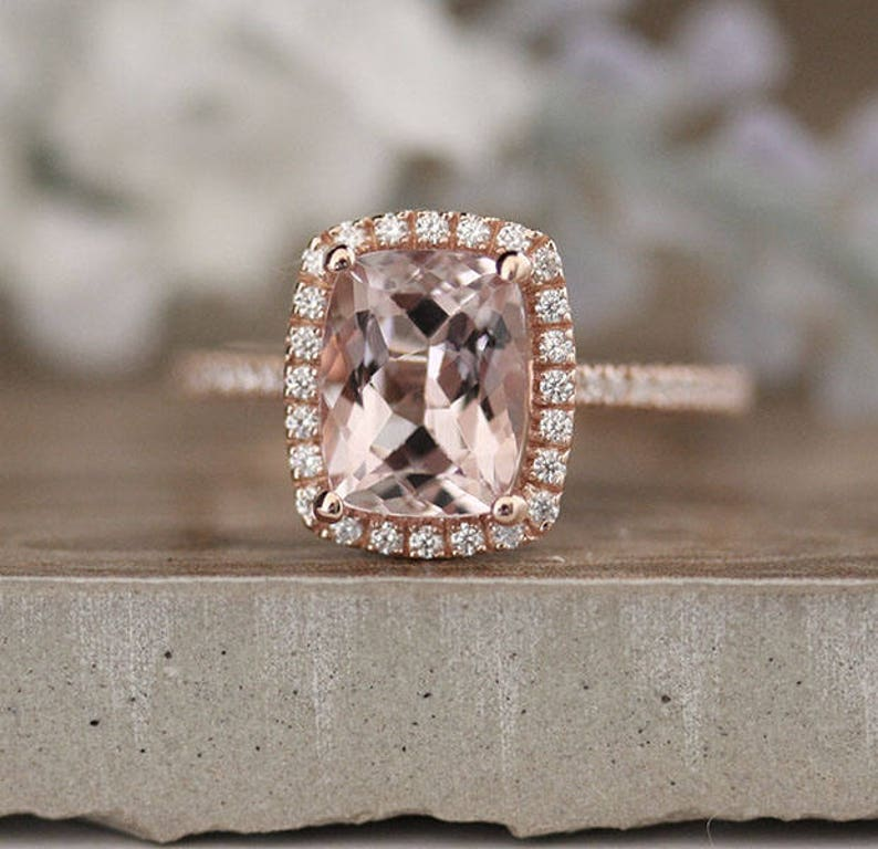 6727abcb25081 Affordable Morganite Rose Gold Engagement Ring, Diamond Wedding Band,  Cushion 9x7mm Morganite Wedding Ring in 10k Rose Gold with Diamond
