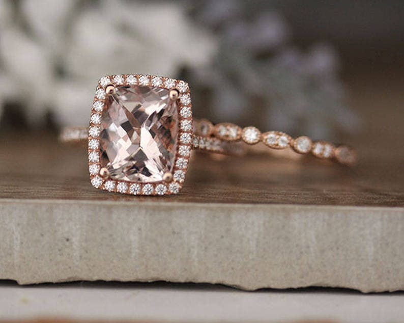 e9dc6a367c129 AFFORDABLE 10K Rose Gold Engagement Ring, 3ct Morganite Cushion and Diamond  Halo Wedding Ring Set, Diamond Milgrain Band, 10x8mm Cushion