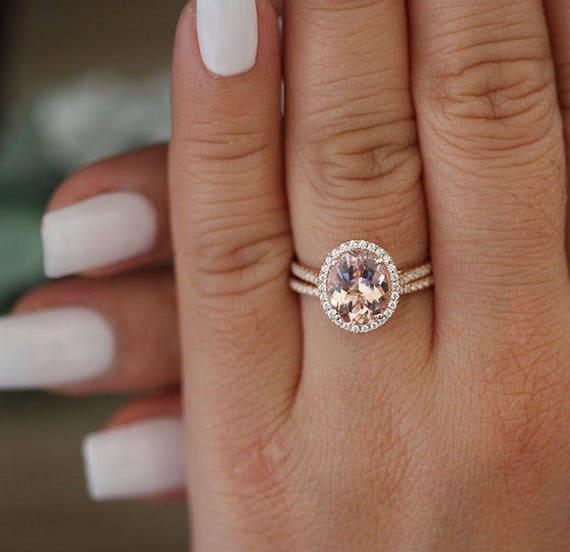 Rose Gold Morganit Ring Oval 10x8mm Morganit Verlobungsring Etsy