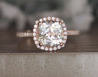 8mm Cushion White Topaz and Diamond 14k Rose Gold Engagement Ring, Diamond Halo Ring, Half Eternity Band, Colorless Topaz and Diamond Ring