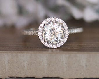 Round 7mm White Topaz Engagement Ring in 14k White Gold, Diamond Halo Ring, Diamond Half Eternity Band, Colorless Topaz and Diamond Ring