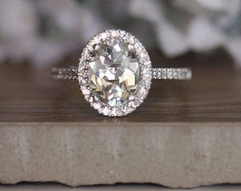 Oval 9x7mm White topaz and Diamond Halo Engagement Ring, Bridal Ring, Wedding Ring, Diamond Ring, Bridal Ring Set, Colorless Topaz