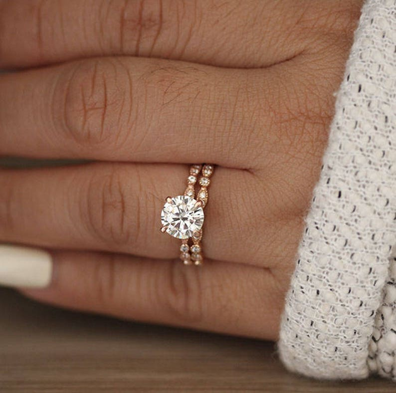 Rose Gold Wedding Ring.Wedding Ring Set Moissanite Rose Gold Engagement Ring Round 8mm Moissanite Ring Diamond Milgrain Band Solitaire Ring Promise Ring