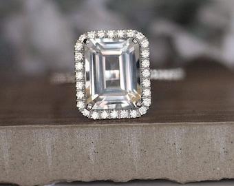 10x8mm Emerald Cut White Topaz 14k White Gold Engagement Ring, White Topaz and Diamond Halo Gold Ring, Promise Ring, Diamond Like Ring