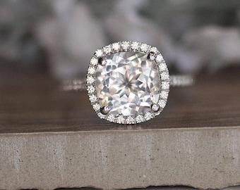 White Gold 9mm Cushion White Topaz Engagement Ring, Wedding Ring, 14k, White Gold Ring, Bridal Ring, Diamond Halo Natural White Topaz Ring