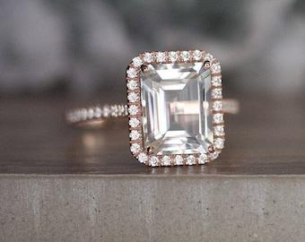 10x8mm Emerald Cut White Topaz 14k Rose Gold Engagement Ring, White Topaz and Diamond Halo Gold Ring, Promise Ring, Diamond Like Ring