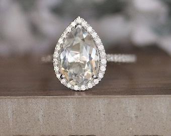Pear White Topaz and Diamond Engagement Ring, 14k White Gold Diamond Bridal Ring, Natural Colorless Topaz Ring, Wedding Ring Set, Diamond