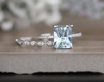 Milgrain Diamond Aquamarine Engagement Ring, Diamond Wedding Band, White Gold Bridal Ring Set, Emerald Cut 10x8mm Aquamarine & Diamond Ring