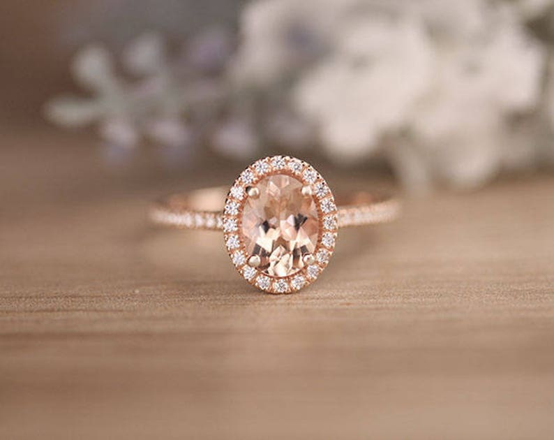 Gemstone Responsible 10k Rose Gold Morganite Diamonds Women Milgrain Gemstone Jewellery Wedding Ring Fine Jewellery