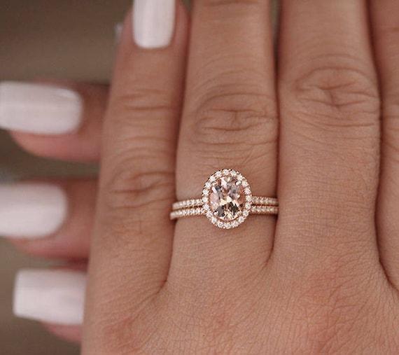 Rose Gold Bridal Ring Set Morganite Rose Gold Engagement Ring Etsy
