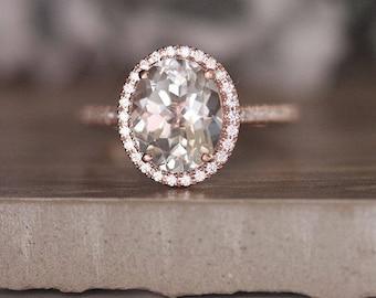 Natural White Topaz Engagment Ring, Diamond Halo Ring, 14k Rose Gold White Topaz and Diamond Bridal Ring, Diamond Half Eternity Band