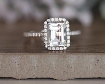 Engagement Ring, White Topaz Emerald Cut 8x6mm and Diamond Halo Ring, Diamond Half Eternity Band, Diamond Halo Ring, 14k White Gold Ring
