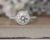 7mm Round Moissanite Engagement Ring, Forever Classic Moissanite White Gold Ring, Diamond Halo Ring, Half Eternity Diamond Band