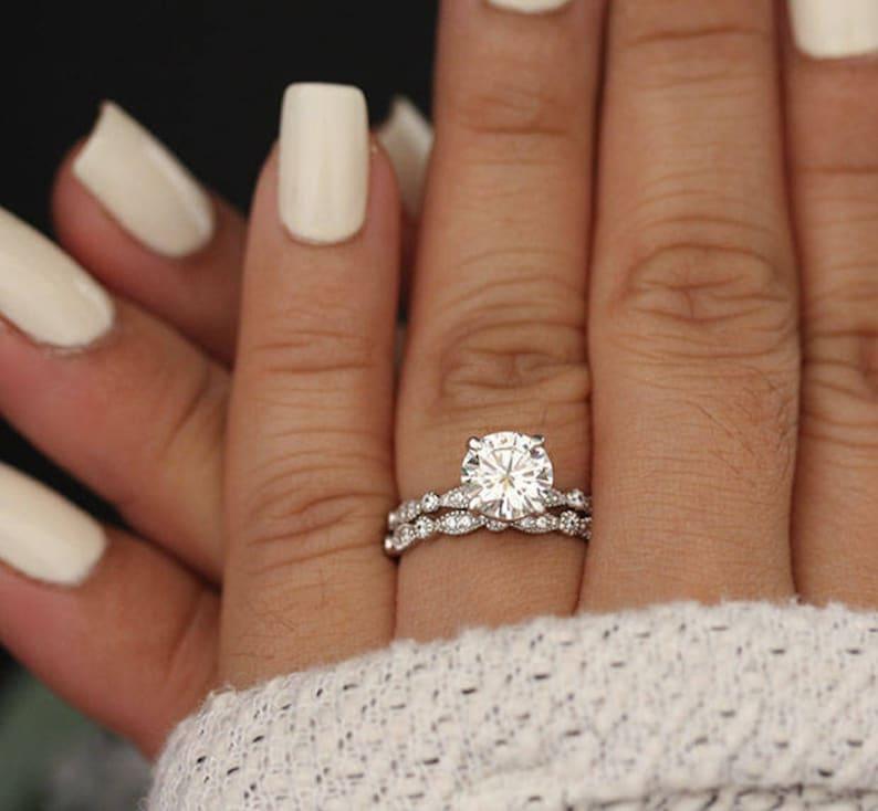 Wedding Ring Set.Wedding Ring Set Moissanite 14k White Gold Engagement Ring Round 8mm Moissanite Ring Diamond Milgrain Band Solitaire Ring Promise Ring