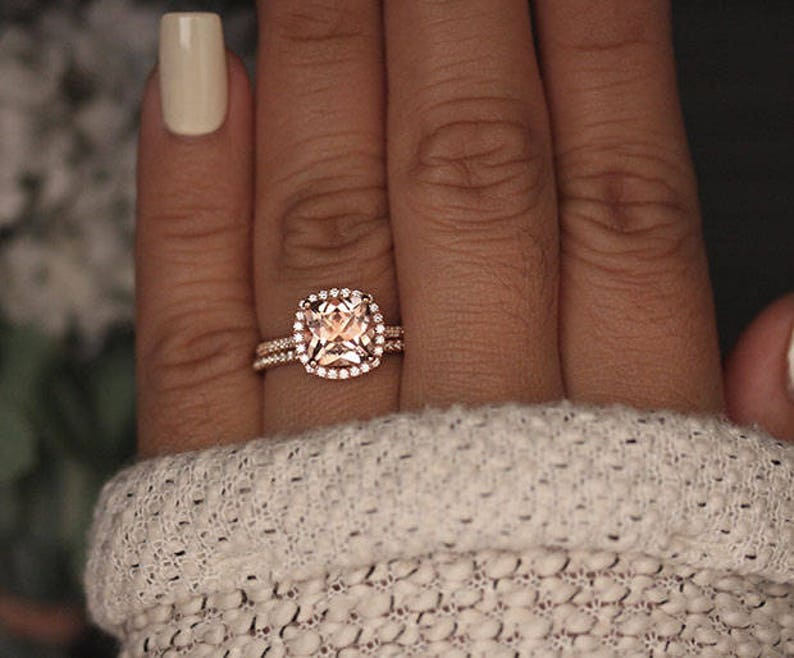 Rose Gold Morganite Ring Cushion 8mm Morganite Engagement image 0