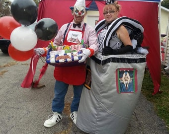 Contortionist and Creepy Clown Concession Worker Costumes