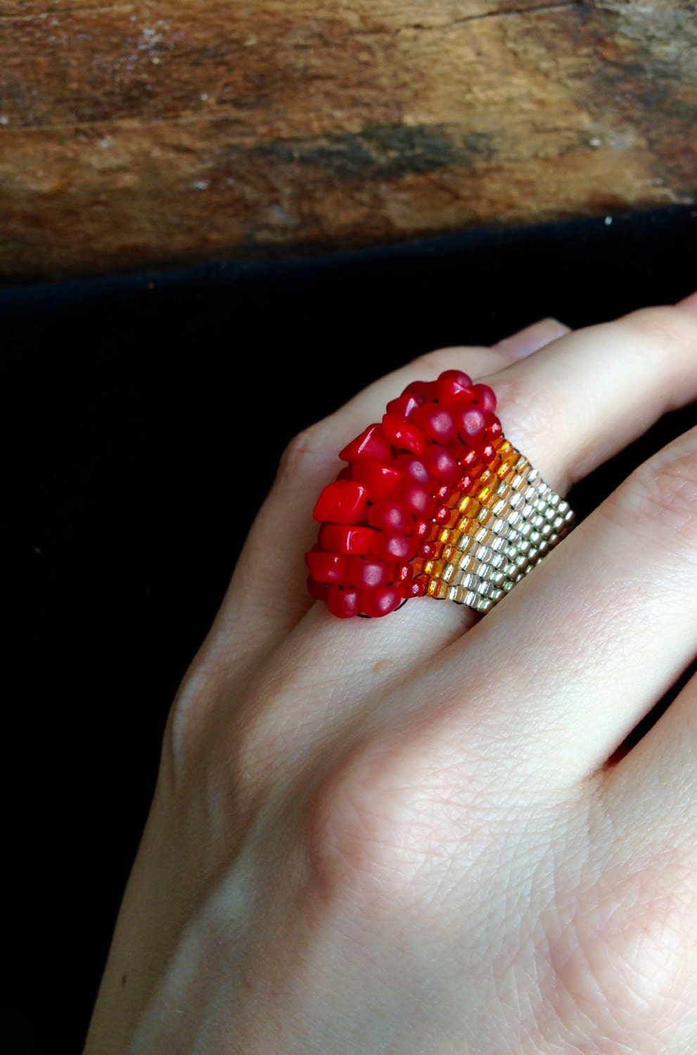 Striking Natural Hair Looks For The 2015 Bride: Striking Coral Ring Beaded Jewelry Wide Ring Silver