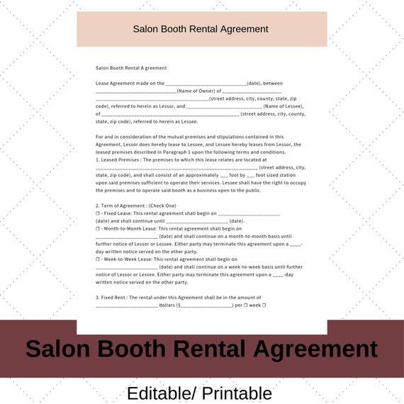 Hair Stylist Booth Rental Agreement Contract Instant Download