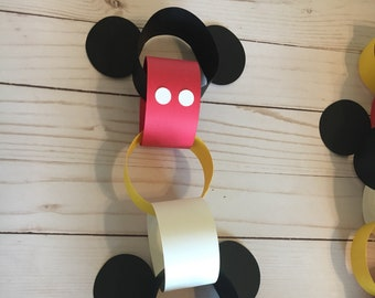 diy mickey mouse paper chain disney countdown chain mickey mouse garland mickey mouse decorations