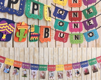 First Fiesta Birthday Banner Kit | First Birthday Decorations Package | Papel Picado Banners