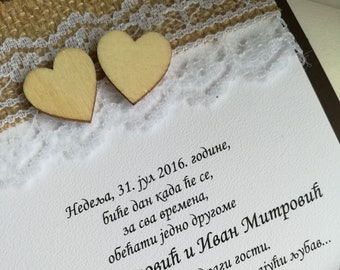 Wedding invitation with lace, juta and wooden hearts