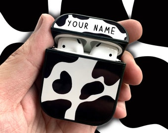 Personalised Custom Airpod (Gen 1 &2 ) Case - Black Cow Print - Your Name