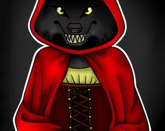 Red Riding Hood Werewolf Posters, werewolf poster, red riding hood poster, Medieval Werewolf
