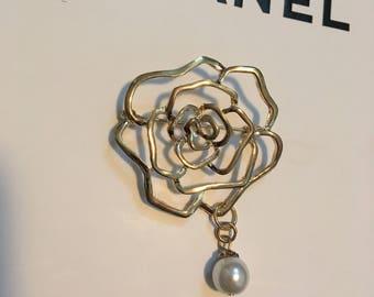 Designer Inspired Gold Camelia Flower Brooch