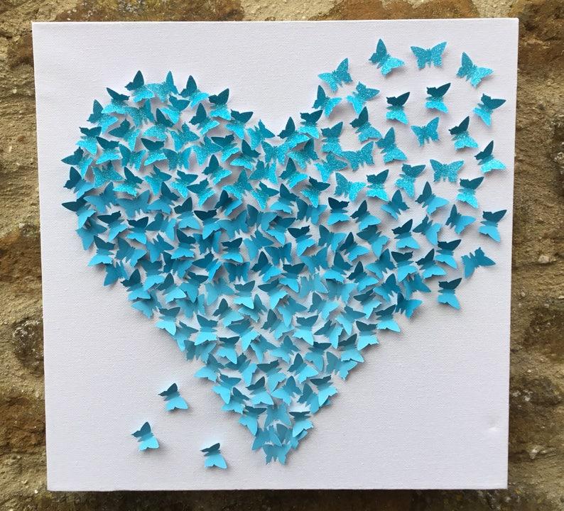 Bleu dégradé mur papillon 3d art/papillon coeur mural | Etsy