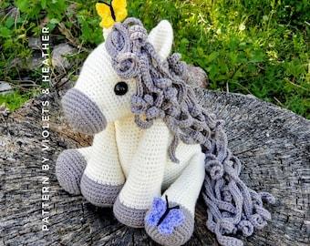 CROCHET PATTERN for Spring Horse, Instant PDF Download. Amigurumi Horse Pattern. Crochet Pony Pattern. Crochet Toys. Violets & Heather