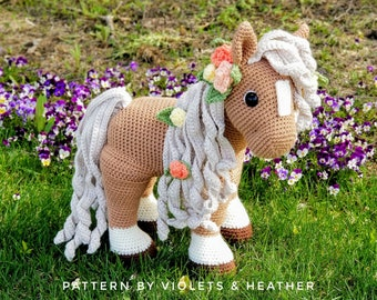 CROCHET PATTERN for Summer Horse, Instant PDF Download. Amigurumi Horse Pattern. Crochet Pony Pattern. Crochet Toys. Violets and Heather