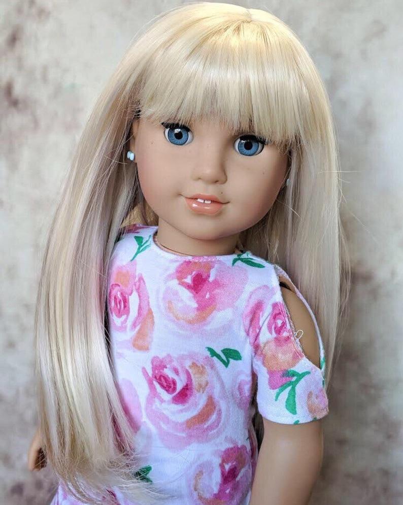 """10-11/"""" Custom Doll Wig for 18/"""" American Girl Doll Gotz MyLife OG Journey Blonde"""