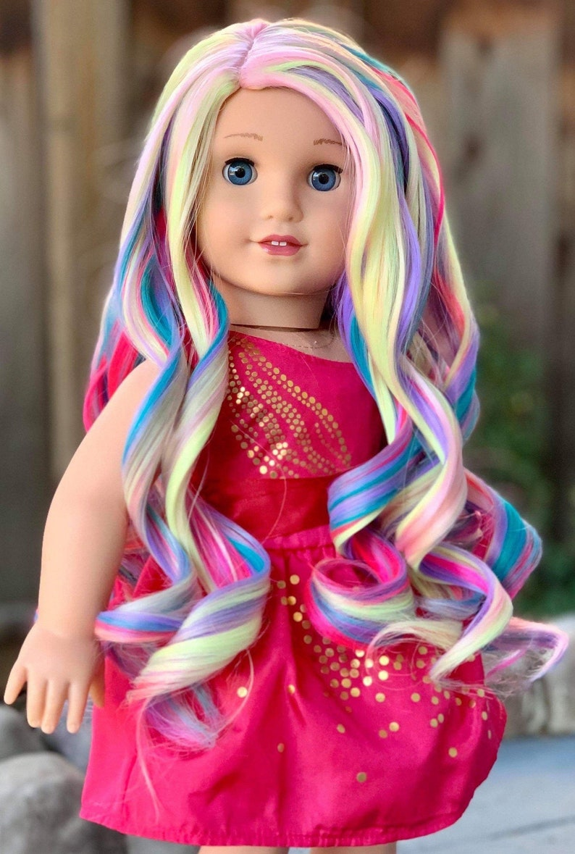 "American Girl Doll wig RAINBOW  Custom NEW 18/"" Doll wig for any 10-11/"" Head"