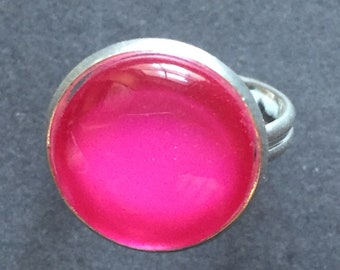 Vibrant pink glass ring, adjustable silver plated ring