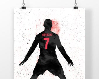 CR7 Madrid Football - Soccer Poster Print, Illustrated Print, Football Posters, Sport, Mancave, Gifts, Home Decor