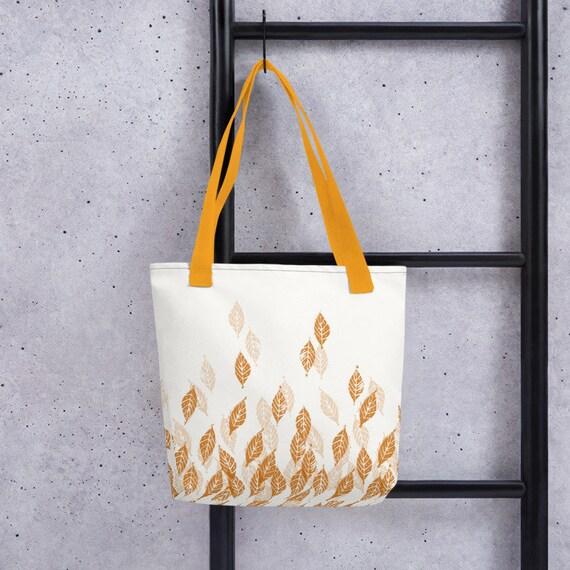 Christmas Gift Orange and Yellow Fall Branches Handmade Tote Bag