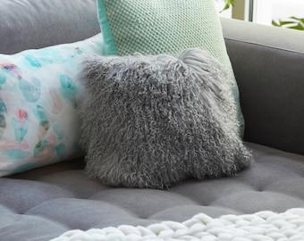 Mongolian Sheepskin cushion - Square - GREY