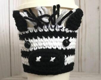 Zebra Crochet Cup Cozy, Crochet Coffee Sleeve