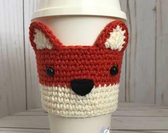 Fox Crochet Cup Cozy, Crochet Coffee Sleeve