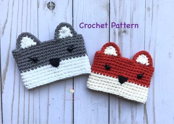 Crochet Wolf Fox Cup Cozy Pattern Digital Download Wolf Etsy