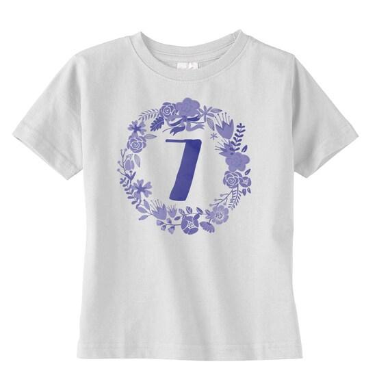 Floral Boho Girls Seventh Birthday Shirt Gift