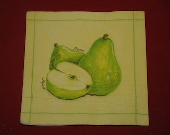 """pears and apples"" fruit and vegetables theme napkin"