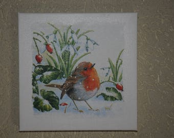 """small painting, square, theme """"red Bra"""""""