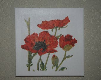 """small painting, square, theme """"poppies"""""""